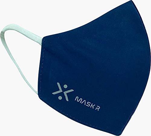 MASK-R Mascarilla reutilizable azul y lavable hasta 50 veces de tela color azul marino talla L (L, Azul Marino)