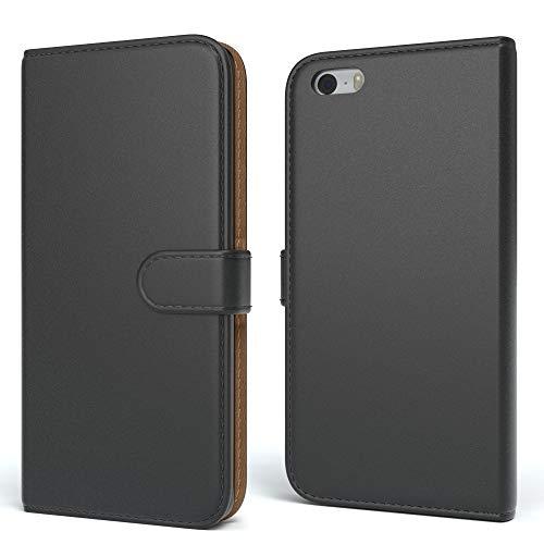 EAZY CASE Tasche kompatibel mit Apple iPhone 5 / 5S / SE (2016) Schutzhülle mit Standfunktion Klapphülle im Bookstyle, Handytasche Handyhülle mit Magnetverschluss & Kartenfach, Kunstleder, Schwarz