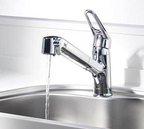 LIXIL(リクシル)INAXキッチン用台付浄水器内蔵シングルレバー混合水栓エコハンドル浄水微細シャワー整流ホース引出し凍結防止水抜き仕様RJF-771YN