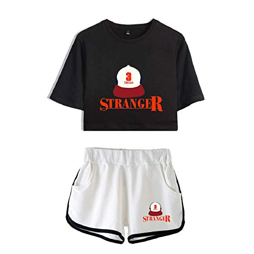 Synona Stranger Things Crop Top Camisetas y Pantalones Cortos Traje para niñas/Mujeres Conjuntos Impresos Pijamas Conjunto Casual Chándal de Verano