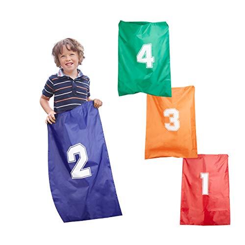 Relaxdays Carreras Infantiles, Sacos para Saltar, A partir de 3 años, Poliéster, 4 Unidades, Multicolor, varios colores. (10022477) , color/modelo surtido
