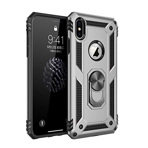 Jeack Funda compatible con iPhone XS, 360 grados, soporte de anillo de silicona, soporte magnético para coche, amortiguación, carcasa para iPhone XS plata M