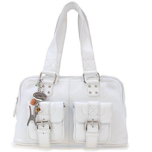 Catwalk Collection Handbags - Vera Pelle - Borsa a Spalla/Borse a Mano - Con Ciondolo a Forma di Gatto - Caroline - BIANCO