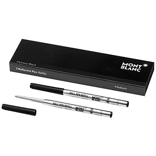 Montblanc 116190 - Refill (M) per penne a sfera, colore Mystery Black (nero) – Ricariche di alta qualità e colore intenso, punta: media, 1 x 2 Refill