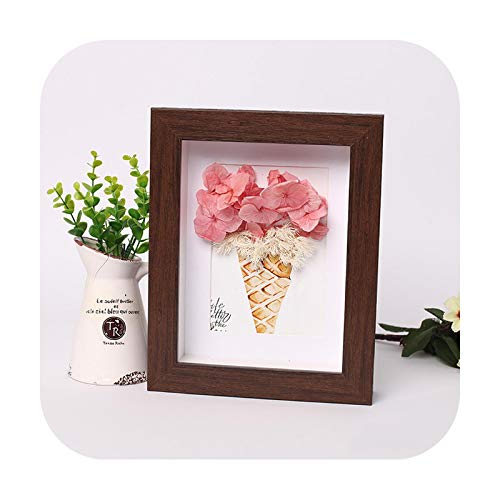 Frames 3D Photo Frame Hollow Depth 3Cm For Flowers,Plant,Pins, Medals,Tickets And Photos Dispaly, Shadow Box For Diy Art Crafts Display-Walnut-Inner Size 20X20Cm