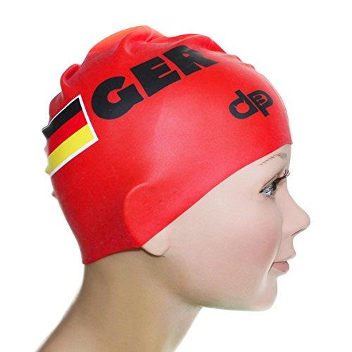 Diapolo Professionale Schwimmkappe Deutsches Rote Schwimmen Silikon Badekappe Bademütze Schwimmmütze für Damen und Herren und Mädchen und Jungen