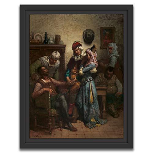 Printed Paintings Marco Americano (60x80cm): Gustave Doré - Don Quijote y Sancho Panza entretenidos por Basilio y Quiteria