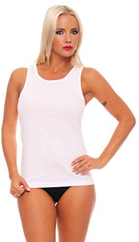Good Deal Market 4-delig, 8- of 16-delig pak dames onderhemd wit zonder kant 100% katoen fijne ripp zacht en ademend maat 36/38 tot 56/58 leverbaar
