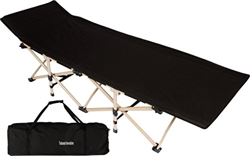 "Trademark Innovations 75"" Portable Folding Camping Bed & Cot - 220 lbs. Capacity (Black)"