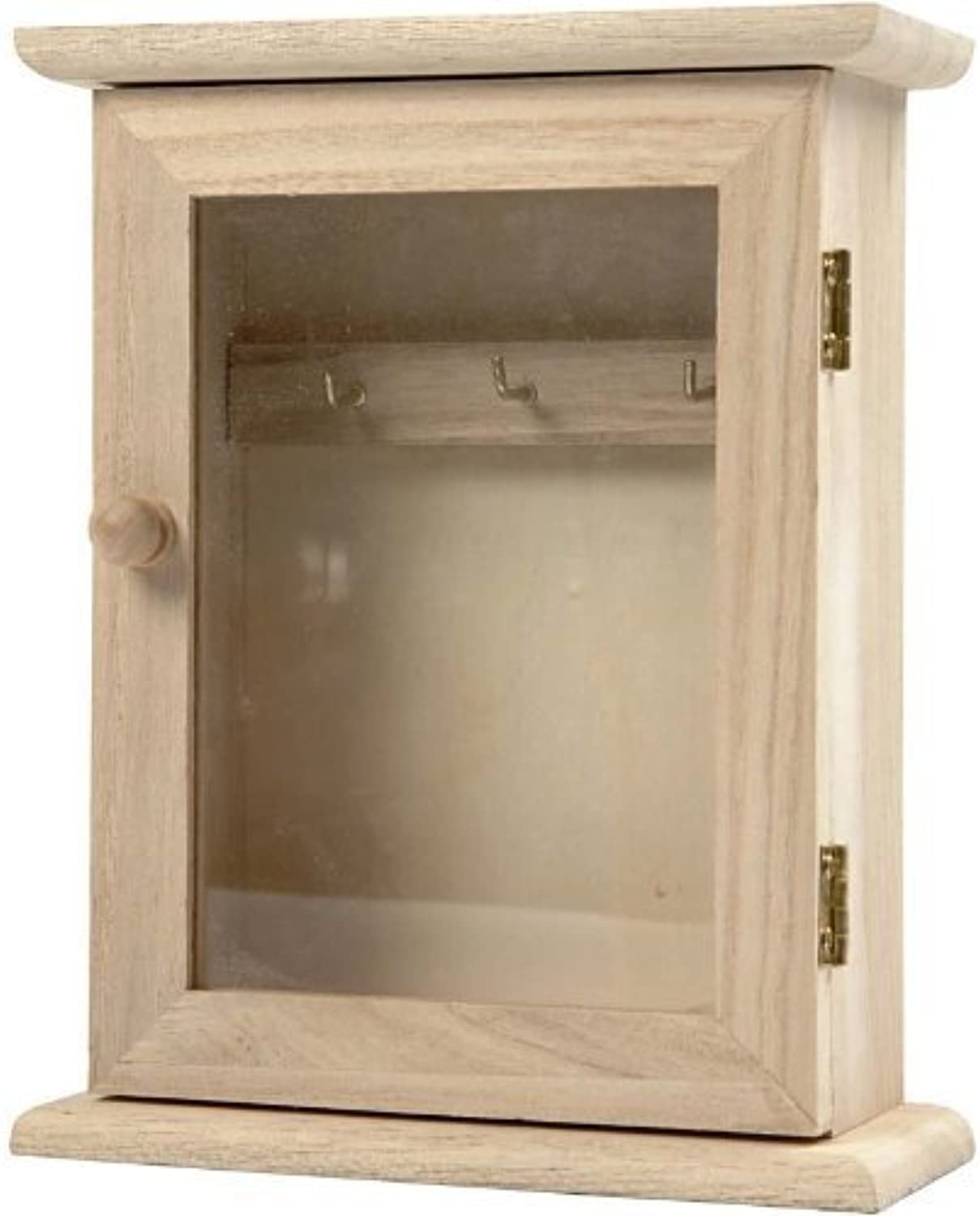Creativ 1-Piece Wooden Key Cabinet with Glass Panel Door Metal Key Hooks by Creativ