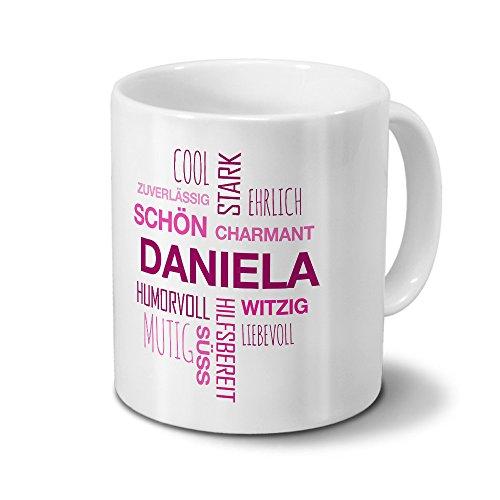 printplanet Tasse mit Namen Daniela Positive Eigenschaften Tagcloud - Pink - Namenstasse, Kaffeebecher, Mug, Becher, Kaffeetasse