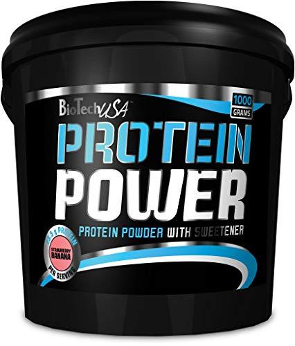 Biotech USA Protein Power - Proteína en polvo, sabor fresa y plátano, hidrolizado de soja, caseinato de calcio y concentrado de suero de leche,1000 gr