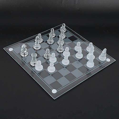 Dilwe Ajedrez de Cristal, 32 Piezas de ajedrez + 1 Tablero de ajedrez + 1 Espaciador 25x25 cm Ajedrez de Cristal Pulido Mate