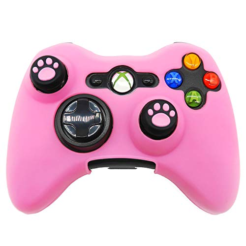 BRHE Silicone Skin Anti-Slip Soft Comfort Protector Cover Case Compatible with Xbox 360 Controller with 2 Cat Paw Thumb Grips - Pink