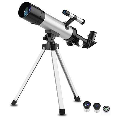 EYEKOP Astronomy Telescope for Kids Adults Beginners, 50mm Aperture 360mm Astronomical Refracting Telescope with Finderscope and Tripod, Portable Travel Telescope for Observe Moon and Planet (Silver1)
