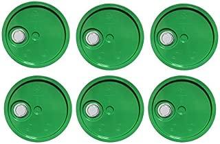 5 Gallon Bucket Lids,Green Reike Flex Spout Plastic Bucket Lid | Pail Lid-UN Rated-6 Pack