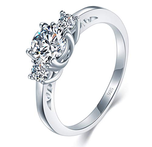 925 Sterling Silver Ring, Boruo Cubic Zirconia CZ Eternity Engagement Wedding Band Ring Size 6.5