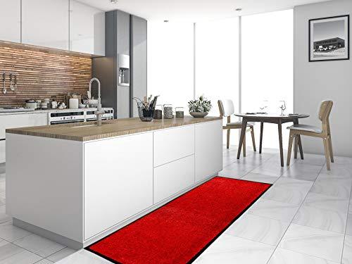 Primaflor - Ideen in Textil Küchenläufer Küchenvorleger Schmutzfangmatte CLEAN - Rot, 60x180 cm, Küchenteppich Schmutzfangläufer