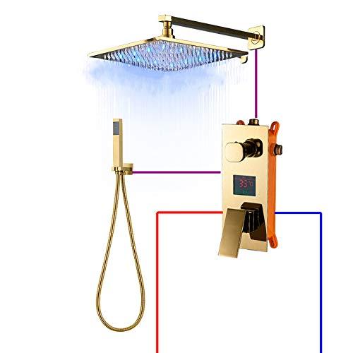 DAMO&GUYAN Grifo de Ducha de baño con Pantalla Digital Pulida Dorada, LED, Grifo de baño de 3 vías, válvula mezcladora LCD de Triple vía,2 vías de 8 Pulgadas