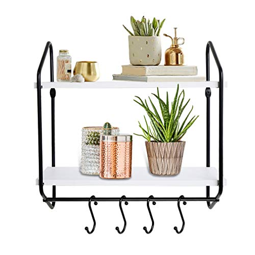 BOLUO 2 Tier Wall Shelf White Floating Shelves Bathroom With Towel Bar Hooks for Coffee Mugs Kitchen Modern Mounted Shelving 16 Inch