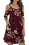 Jouica Women's Boho Off The Shoulder Floral Print Casual Dress,Flower Wine Red, Large