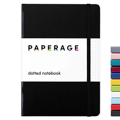PAPERAGE punteggiato journal proiettile notebook, hard cover, media 5.7 x 8 pollici, 100 gsm carta spessa (nero, tratteggiata)