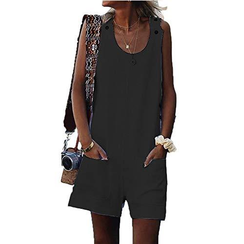 Donna Salopette Lunga Casual Pantaloni, Morbuy Nuovo Moda Senza Maniche Harem Jumpsuit Ragazza Overall Hippie Sciolto Cinturino Tuta con Tasche Shorts Pantaloni Incinti (XL,Nero)