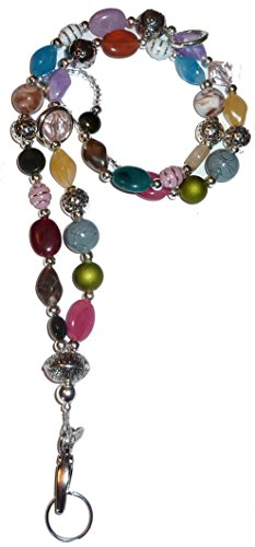 "Chunky Style Fashion Women's Beaded Lanyard 34"", Breakaway and Non Breakaway Available, for Keys, Badge Holder (Chunky Multi - Breakaway)"
