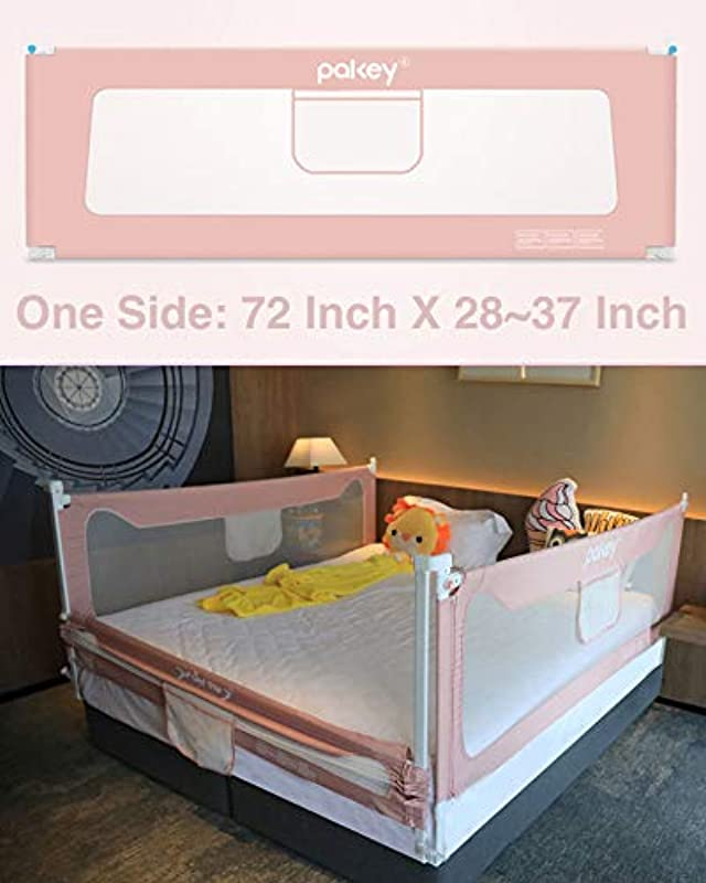 Goldenvalueable 72 Vertical Collapsible Bed Rail Guard For Baby Toddlers And Kids Pink One Side