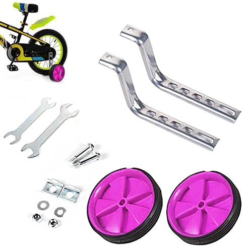 FGen Stützräder für Kinderfahrrad, Stützrad, Einstellbare Stützräder Erwachsene, Hilfsräder für Erwachsene, Geeignet für 12-20-Zoll-Fahrräder, Kostenloser Montageschlüssel, Rosa