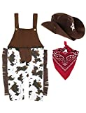 A&J DESIGN Halloween Baby Boys' Western Cowboy Romper Sets with Scarf and Hat Overall(0-6 Months, Brown)