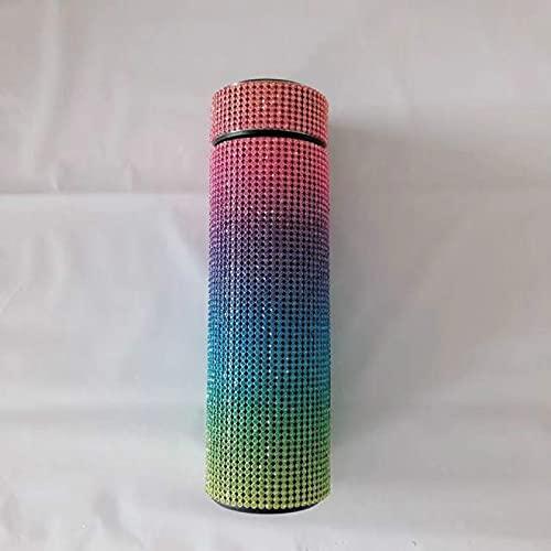 SOTUISA Botella De Agua con Botella De Calor De Diamante Creativa Temperatura Inteligente De Acero Inoxidable Mostrar Regalo De Botella De Vacío