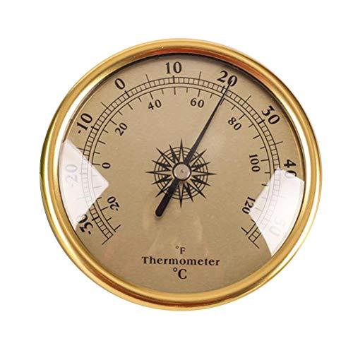 TIANTIAN Wetterthermometer zum Aufhängen, 72 mm, groß, rund, Metall, goldfarben