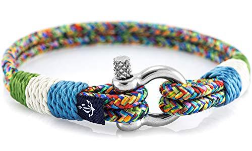 CONSTANTIN NAUTICS SAIL WITH US Maritimes Armband aus Segeltau, handgemacht, für Damen und Herren, mit Edelstahl Schäkel-Verschluss 3mm CNB #816 20cm