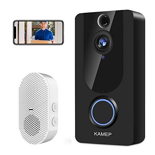 Video Doorbell Wireless 1080P HD WiFi Smart Doorbell Free Cloud Service Door View Home Security Doorbell Camera 166 Wide Angle Motion Detection Night