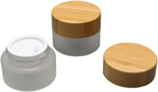 2 Pack Cosmetic Sample Jar 15G/15ML (0.5oz) Frosted Glass Jars Cream Lotion Container Pots For Makeup Samples With Inner Liner And Bamboo Lids