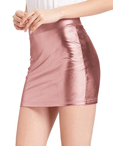 80's Disco Dance Faux Leather Sexy Wet Lool Above Knee Pencil Mini Skirt Rose Gold S
