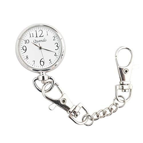 Quando(クアンド) ナースウォッチ 懐中時計 ポケット ウォッチ 日本製クォーツ 看護師 時計 防水 逆さ 文字盤 見やすい 大きい 文字 シンプル チェーン フック 男女兼用 シルバー