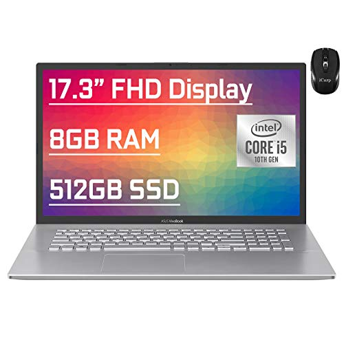 "Flagship Asus VivoBook Business Laptop 17.3"" FHD Display 10th Gen Intel Quad-Core i5-1035G1 (Beat i7-7500U) 8GB RAM 512GB SSD Fingerprint Backlit USB-C Wifi6 Win10 + iCarp Wireless Mouse"