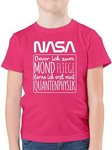 Einschulung und Schulanfang - NASA Bevor ich zum Mond Fliege lerne ich erstmal Quantenphysik weiß - 164 (14/15 Jahre) - Fuchsia - NASA Kinder Shirt - F130K - Kinder Tshirts und T-Shirt für Jungen