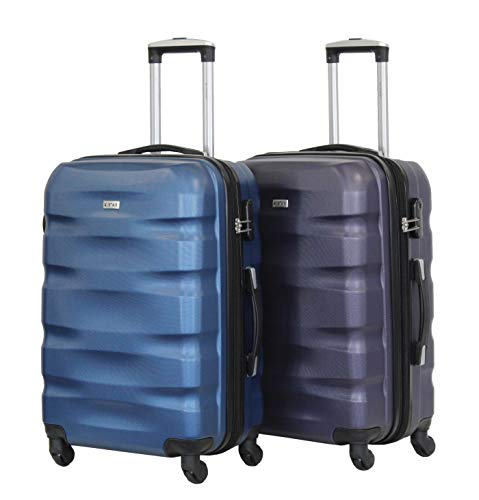 Alistair Fly Set of 2 Medium Luggage 65 cm – ABS Ultra Lightweight and Resistant – 4 Wheels – French Brand, Bleu 3 (Blue) - 1507- Mx2 - Bleu-Purple