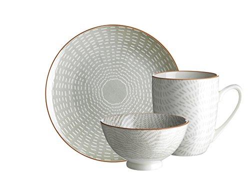 Domestic by Mäser 931041 série Set Petit Déjeuner Murcie, 18 pièces, pour 6 Personnes, décoré dans la Couleur Porcelaine, Gris, 60 x 40 x 25 cm, 18 unités