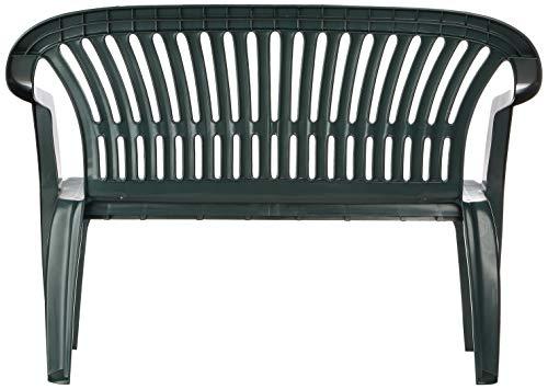Progarden 47100 Bank Diva, 2-sitzig, 55 x 120 x 88 cm, Vollkunststoffgestell, dunkelgrün - 3