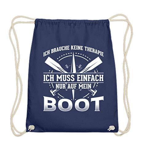 Mein Boot ist meine Therapie Meer Fans - Baumwoll Gymsac -37cm-46cm-Marineblau