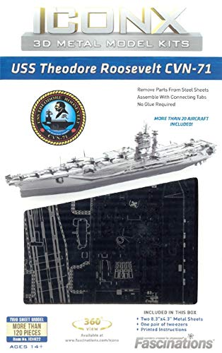 Metal Earth - 5061307 - Maquette 3D - Iconx - USS Roosevelt Aircraft Carrier - 2 pièces