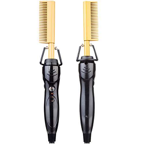 Electric Hot Comb - PUTCUT Hot Comb Electric,Electric Heating Comb Multifunctional Copper Hair Straightener Brush- Straightening Comb - Gold