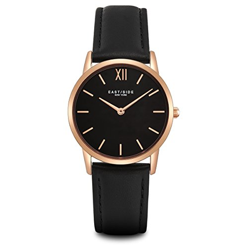 Eastside Damen Uhr analog Japanisches Quarzwerk mit Leder Armband schwarz 3 ATM 10080023