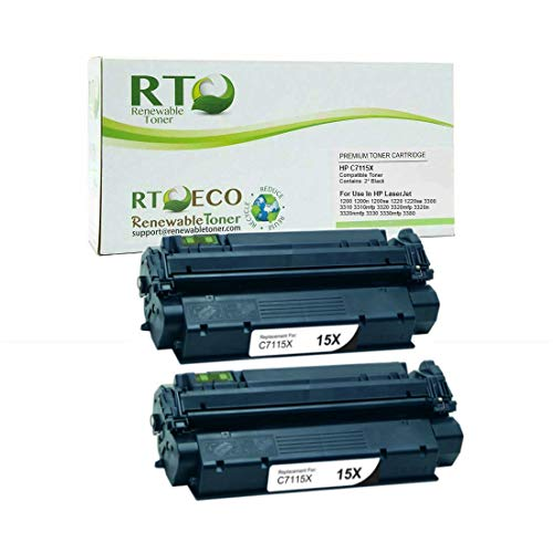 Renewable Toner Compatible Toner Cartridge High Yield Replacement for HP 15X C7115X Laserjet 1200 3300 3310 3320 3380 (Black, 2-Pack)