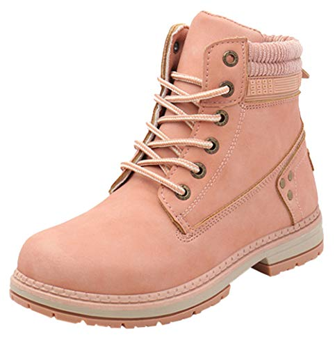 DADAWEN Women's Round Toe Waterproof Lace up Work Combat Boots Low Heel Ankle Booties Pink US Size 10