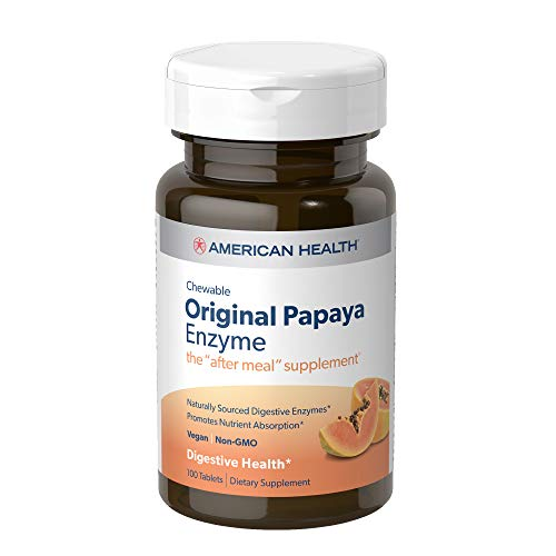 American Health Original Papaya Enzyme Chewable Tablets - Promotes Nutrient Absorption and Helps Digestion - Gluten-Free, Vegetarian - 100 Count, 33 Total Servings